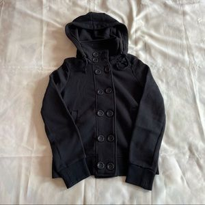 2/$45 ambiance- black hooded buttoned peacoat